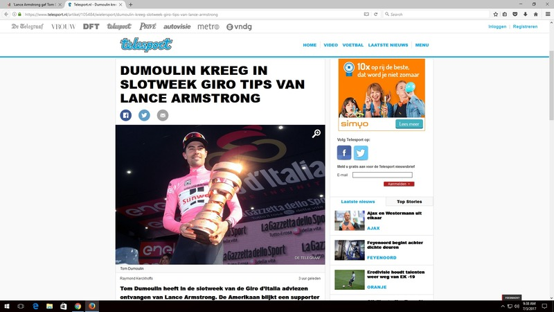 Tom Dumoulin Lance Armstrong Telegraaf