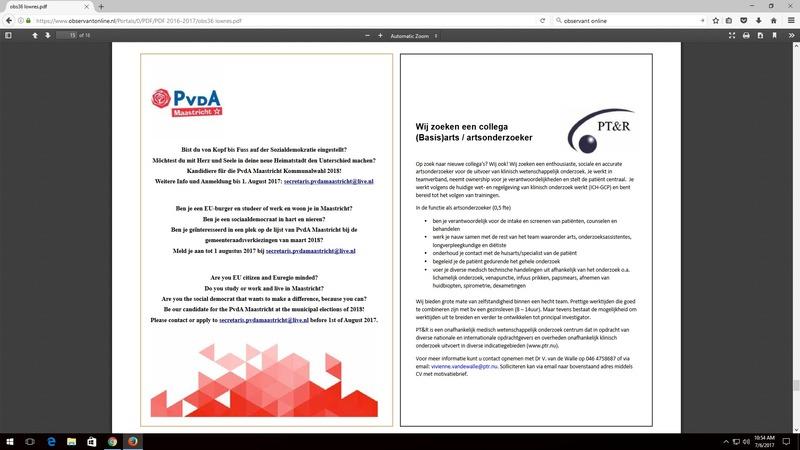 Advertentie PvdA Observant